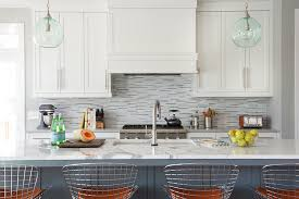 Linear Marble Tile Backsplash Transitional Kitchen Brooks - Linear tile backsplash