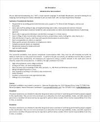 Administrative Assistant Job Description For Resume by Sample Administrative Assistant Job Description 8 Examples In