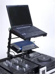 adj american audio uni lts dj laptop stand with gear tray pssl