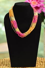 multi layered beaded necklace images Multi layered beaded necklace magenta canary and sunset orange jpg