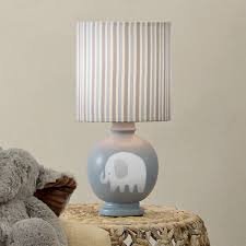 decor white elephant lamp with taupe silk shade for home lighting