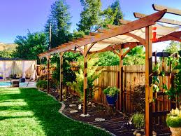 arbor trellis pool cabana japanese maple hanging pots