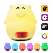 glime led alarm clock night light cute pig usb rechargeable lamps