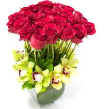 2 dozen roses 2 dozen roses with green orchids in san francisco ca polk