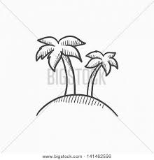 drawn island palm tree pencil and in color drawn island palm tree