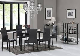 glass dining room sets designer rectangle black glass dining table u0026 6 chairs set