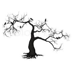 digitally rendered illustration of a crows on tree stock photo