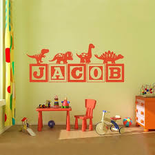 Monogram Wall Decals For Nursery Boys Dinosaur Blocks Name Monogram Wall Decal Nursery Room