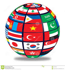 globe globe with world flags stock illustration image 40190466