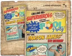 Superhero Invitation Card Superhero Pool Party Invitation Pool Party Superhero