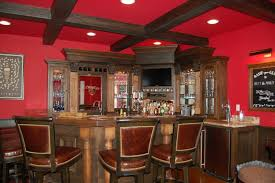 cool bar for basement interior design with plain magenta wall