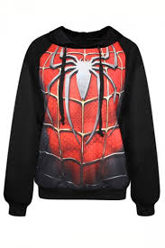 black spider man printed womens long sleeves fashion halloween