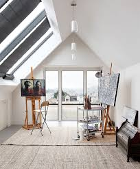 art studio with portraits home office contemporary and dimmable