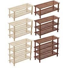 wood 2 3 4 tier slatted shoe rack stand organiser storage shelf