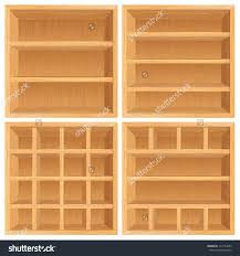 set of wooden bookshelf cabinets vector objects isolated on save