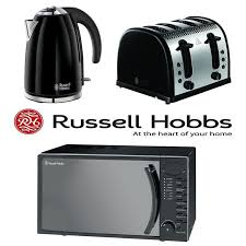 Russell Hobbs Kettle And Toaster Set Black Russell Hobbs Microwave Kettle 4 Slice Toaster Set Of 3