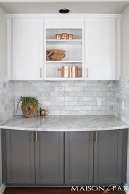 what color backsplash with gray cabinets gray and white and marble kitchen reveal maison de pax