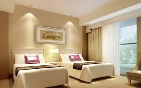 interior simple tan hotel bedroom alongside ivory foamy single