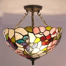 Stained Glass Ceiling Light Fashion Style Stained Glass Butterfly Lights