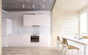 panneaux muraux cuisine design interieur cuisine bois et blanc carrelage carre blanc