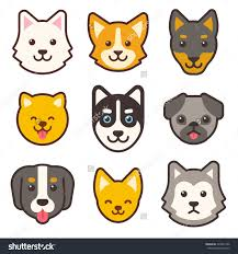 cartoon dog faces set different breeds stock vector 426041446