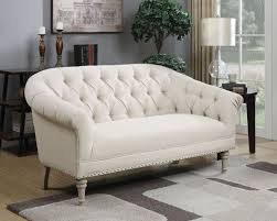 White Tufted Leather Sofa by Furniture Retro White Tufted Sofa For Scandinavian Family Room