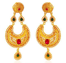 punjabi jhumka earrings 22k chand bali jhumka earrings ajer60517 22k gold designer