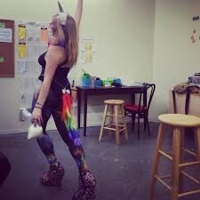 becca messersmith space leggings rainbow tail and gold chain
