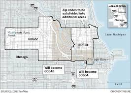 chicago zip code map new zip code changes in wicker park 60622 and loop 60610