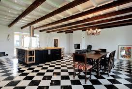 White Tile Kitchen Table by Fine Black And White Tile Floor Kitchen Houzz Inspiration