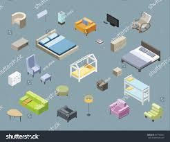 Set Of Bedroom Furniture by Vector Isometric Set Living Room Bedroom Stock Vector 567760981