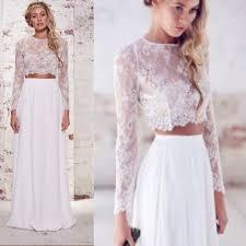 com buy crop top boho wedding dresses 2 pieces lace wedding