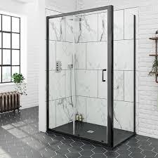 Black Shower Door Mode Black 6mm Sliding Shower Enclosure With Black Slate Effect