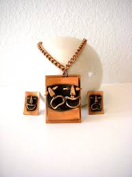 vintage 50s 60s copper comedy tragedy earrings and pendant set