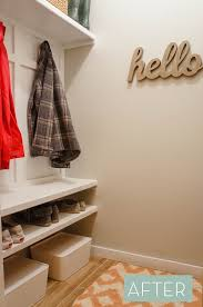 before and after laundry room closet to mudroom makeover curbly