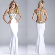 Wholesale Mermaid Prom Dress Buy New Arrival White Deep V Neck
