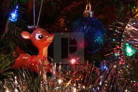 tree ornaments and lights with rudolph nosed