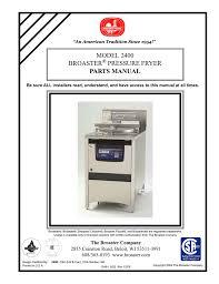 model 2400 broaster pressure fryer parts manual