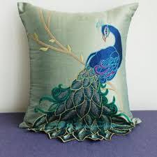 silk peacock home decor luxury handmade peacock cushion faux silk decorative embroidery