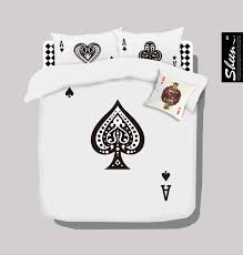 Designer Bedspreads And Comforters Poker Black And White Bedding Set Queen Size Doona Quilt Duvet