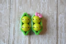 two peas in a pod charm two peas in a pod kawaii charm polymer clay necklace pea