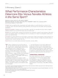 what performance characteristics determine elite versus nonelite