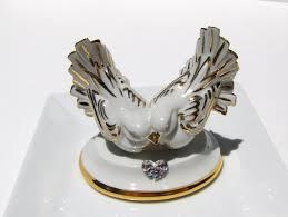limoges doves wedding cake topper swarovski by myvintagealcove