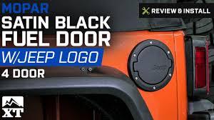 mopar jeep logo jeep wrangler mopar satin black fuel door 2007 2017 jk 4 door