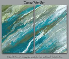 abstract art set of 2 canvas painting giclee print large wall art