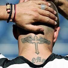 wings cross temporary tattoos beckham neck sticker