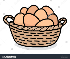 eggs basket cartoon vector illustration hand stock vector