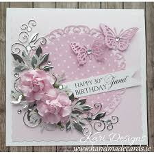 handmade cards beautiful handmade birthday card in pink white and silver colours