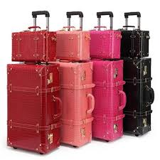 13 22 24 inch women vintage luggage sets pu travel suitcases