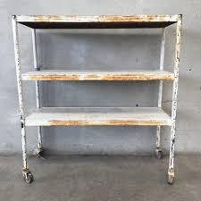 Rolling Bookcase Ladder by White Vintage Metal Rolling Shelf U2013 Urbanamericana